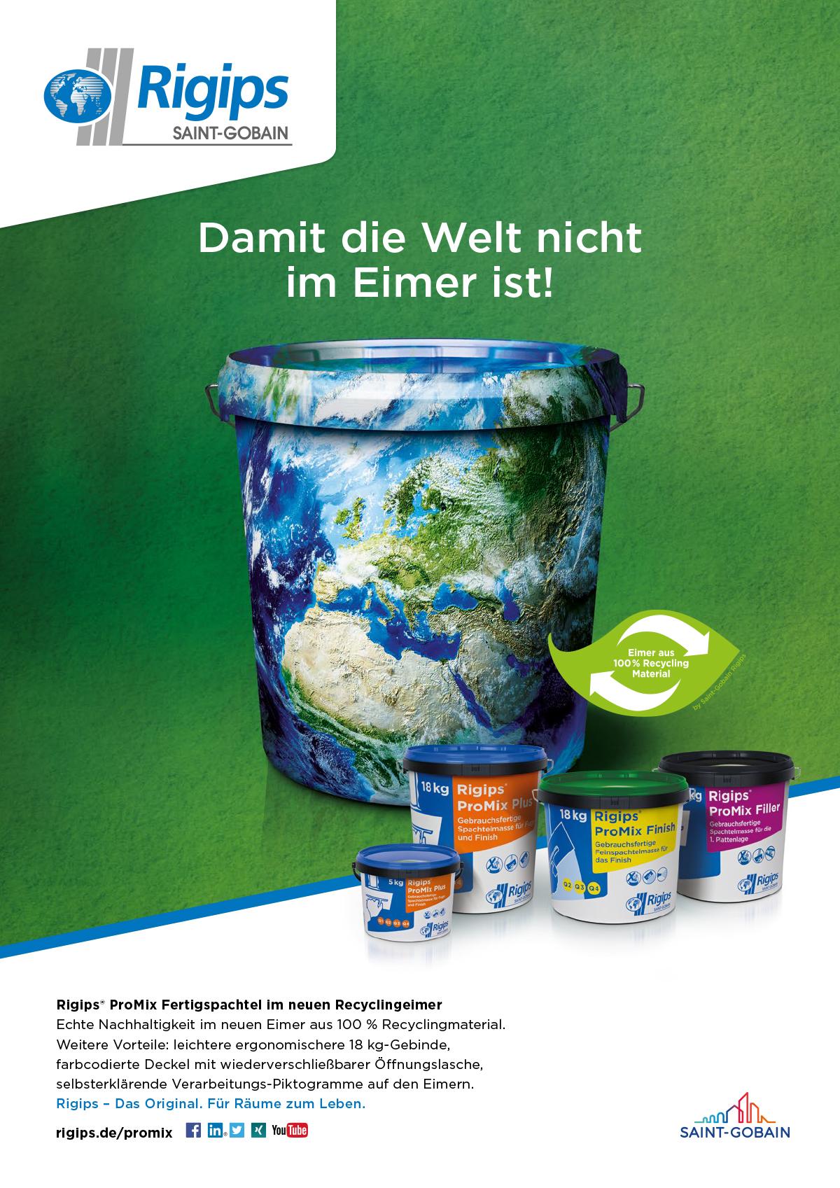 Rigips ProMix Recyclingeimer Anzeige